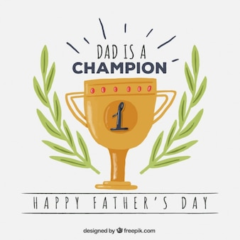 Hand painted trophy with laurel decoration father's day card