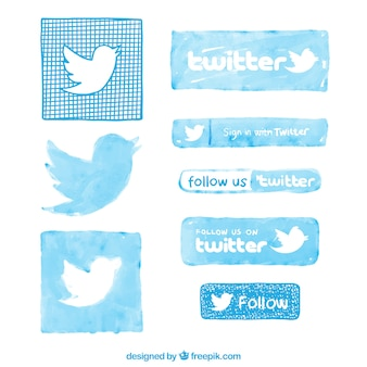 Hand painted twitter logos