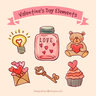 Hand painted valentines day elements
