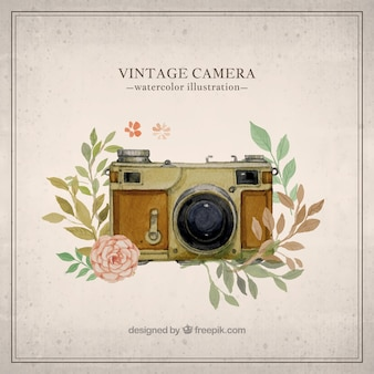 Hand painted vintage camera illustration