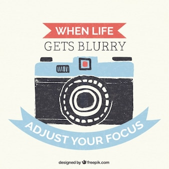 Hand painted vintage camera lettering with a positive quote