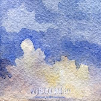 Ручная роспись акварель голубое небо