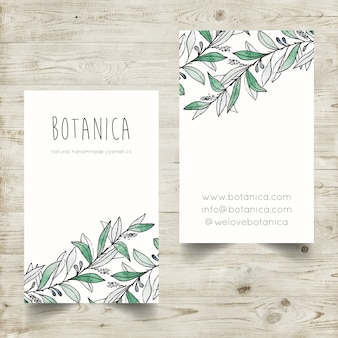 Hand painted watercolor business card template with botanical elements