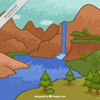 Hand painted waterfall among mountains background