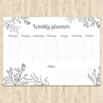 Hand painted weekly planner