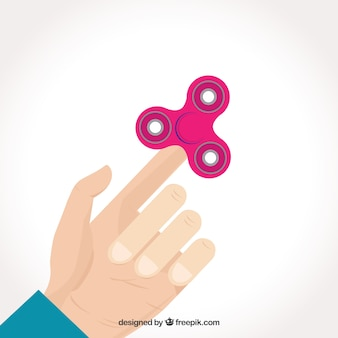 Hand playing background with spinner