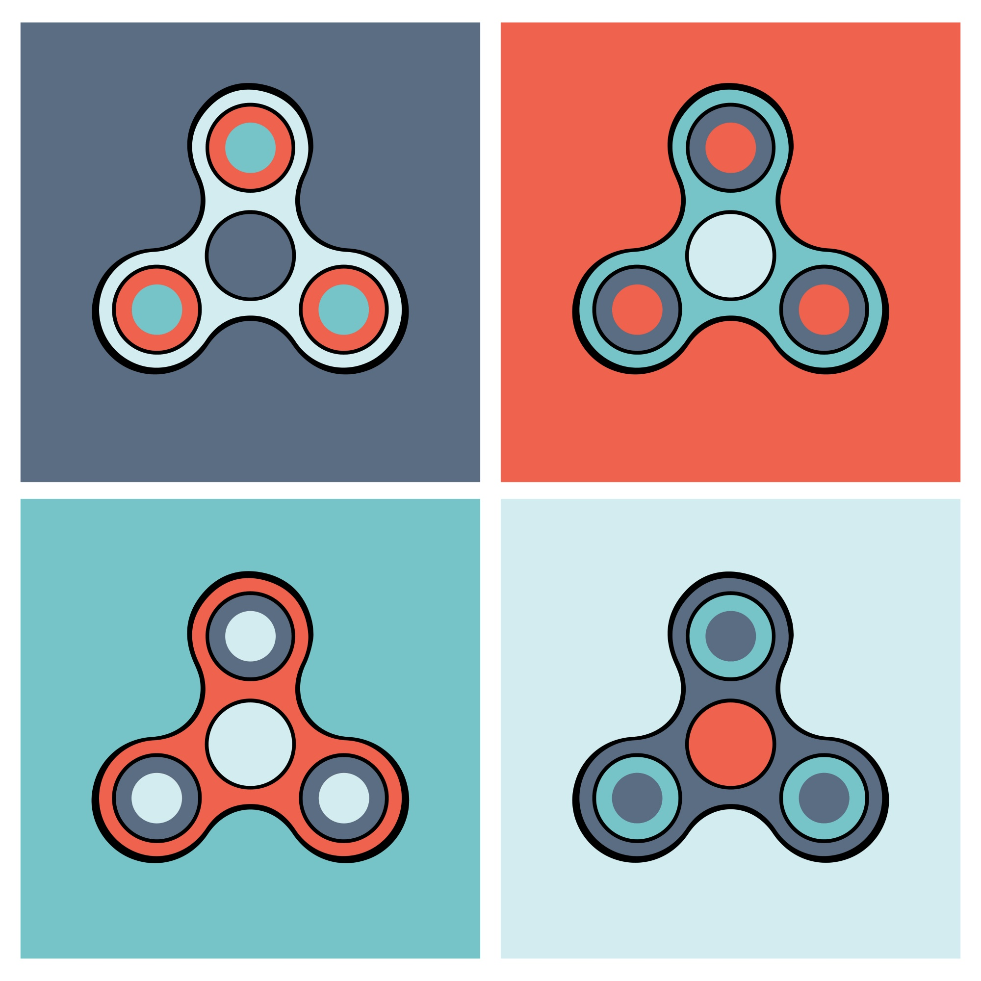 Hand spinner colorful icon set