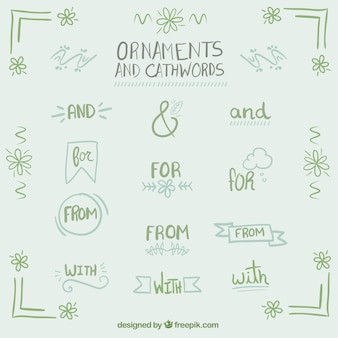 Hand written catchwords with ornaments in green color