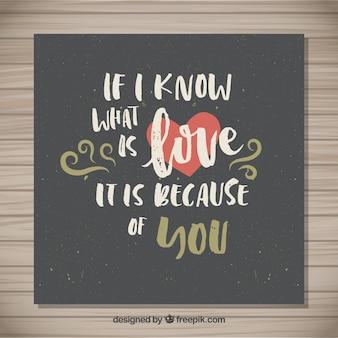 Hand written loving quote