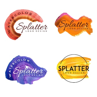 Handdrawn Watercolor Splatter logos