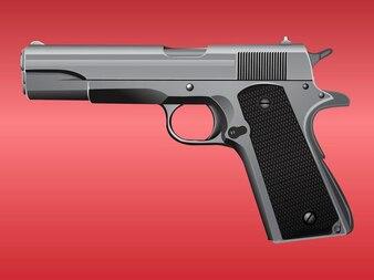 Handgun with shiny metal parts