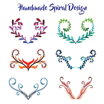 Handmade watercolor Different spiral Designs Collection
