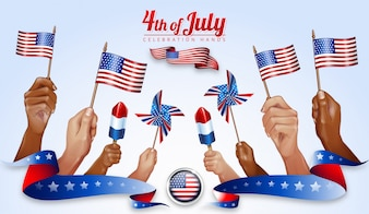 Hands overlay design for independence day