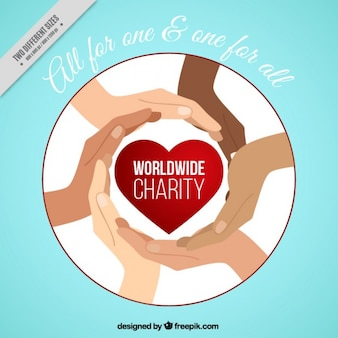 Hands with a red heart of charity background