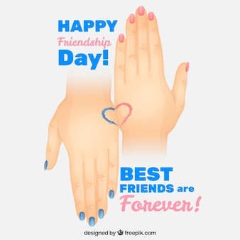 Hands with painted nails friendship day background