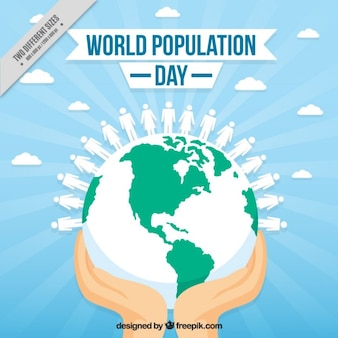 Hands with the world background for population day