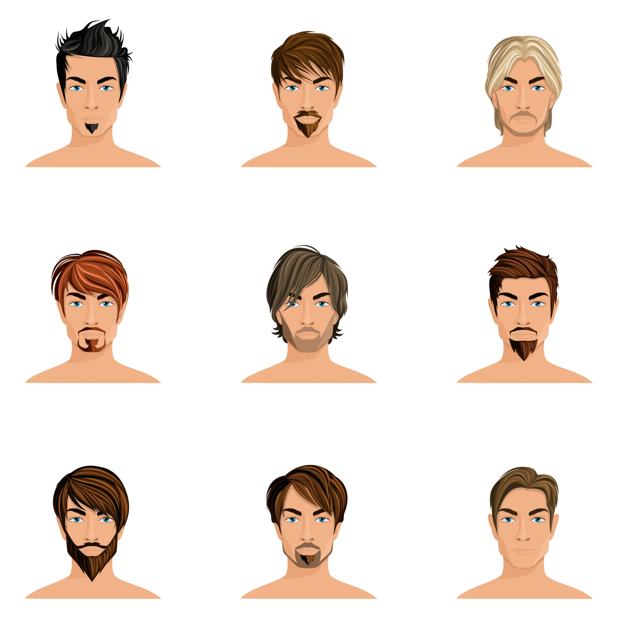 Handsome man male avatars set with haircut styles isolated vector illustration