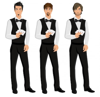 Handsome sexy young men casino dealers with cards portrait set isolated vector illustration.