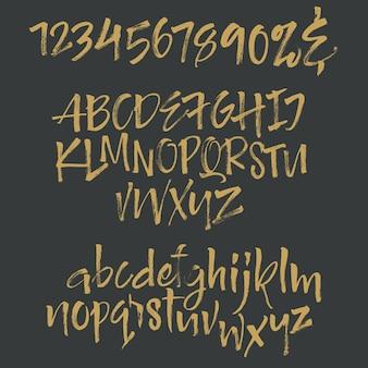 Рукописный шрифт сценария. Шрифт кисти. Верхний регистр, цифры, знаки препинания