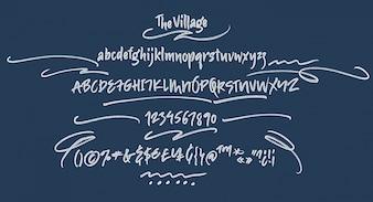 手書きのスクリプトフォント。ブラシフォント。大文字、数字、句読点