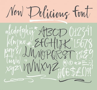Handwritten script font. Brush font. Uppercase, numbers, punctuation