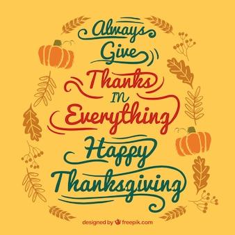 Handwritten thanksgiving card