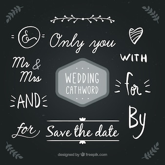 Handwritten wedding cathword collection