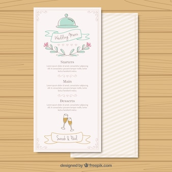 Рукописные свадебное меню