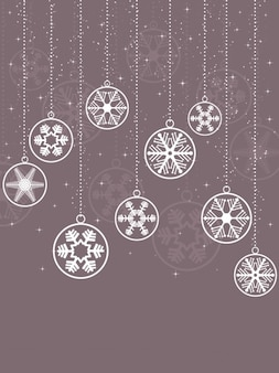 Hanging snowflake baubles background