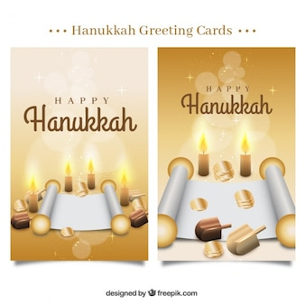 Hanukkah cards with coins and parchments