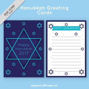 Hanukkah greeting card with blue stars