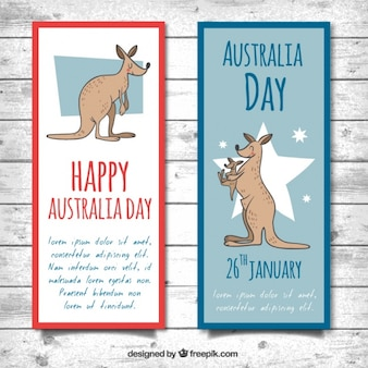 Happy australia day banners with smiling kangaroos