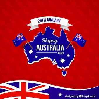 Happy Australia Day on a red kangaroo background