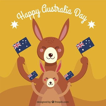 Happy australia day with smiling kangaroos holding flags