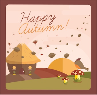 Happy autumn with a beautiful greeting card