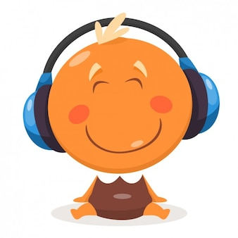 Happy Baby with Headphones