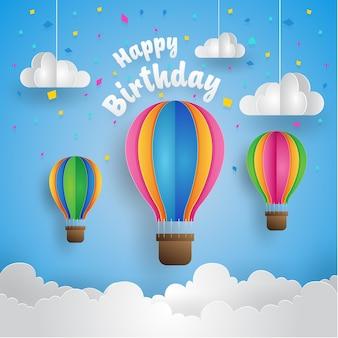 Happy Birthday Air Balloon Paper Art Card