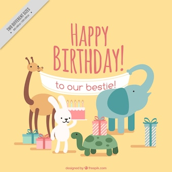 Happy birthday background with cute animals