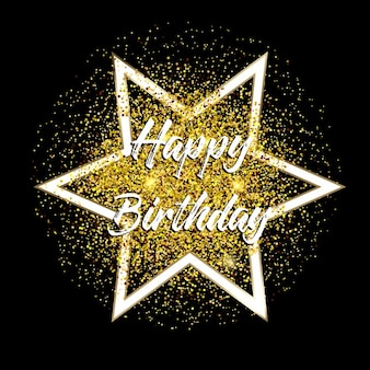 Happy birthday background with gold glitter confetti