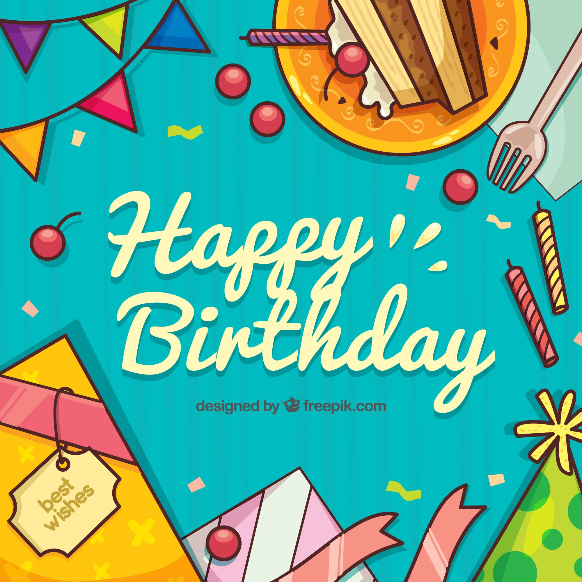 Happy birthday background with hand drawn elements
