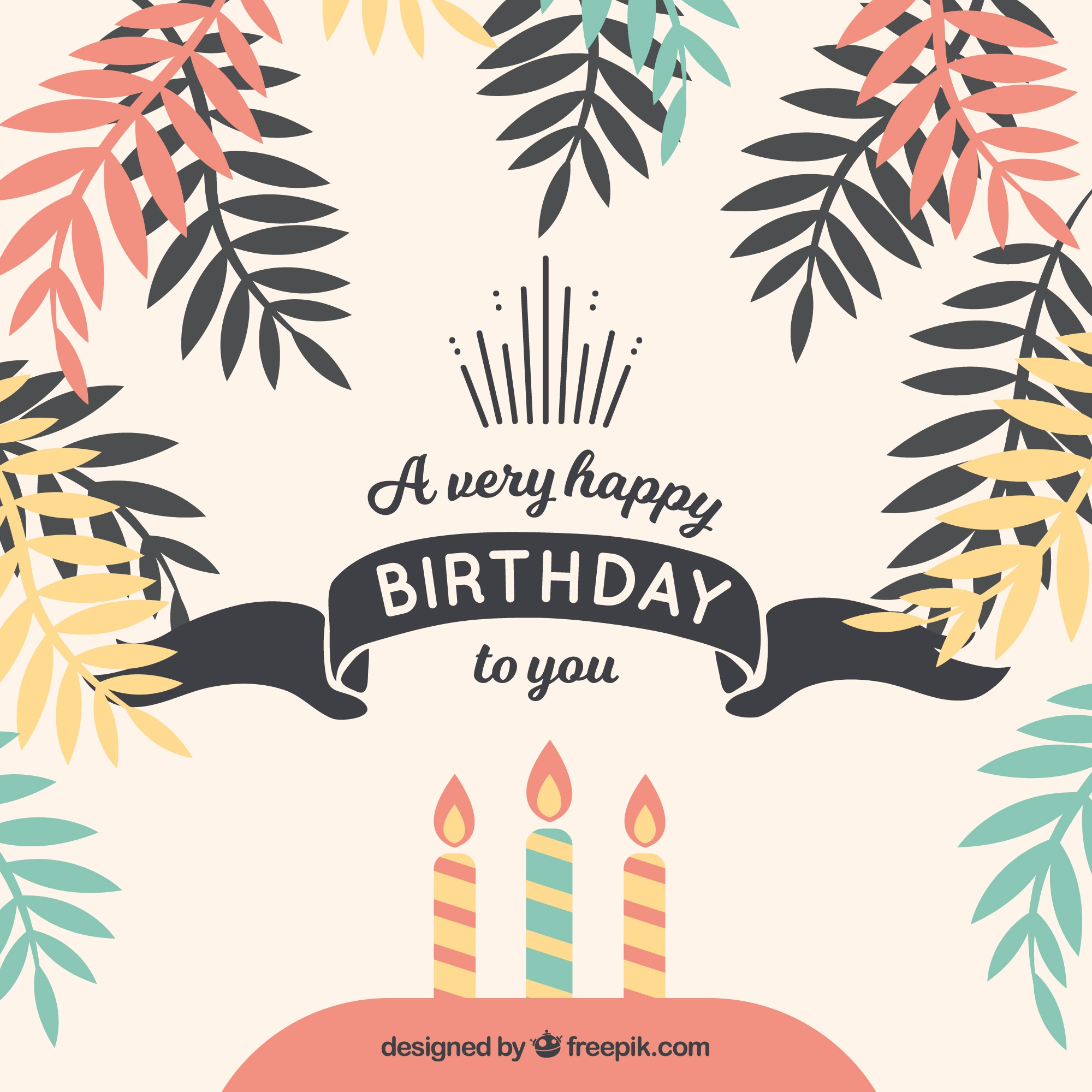 Happy birthday background with palm leaves