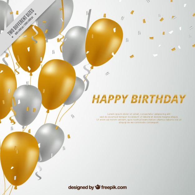 Happy birthday background with silvery and golden balloons