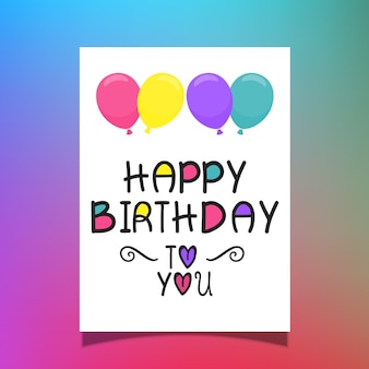 Happy birthday card with colourful lettering and balloons