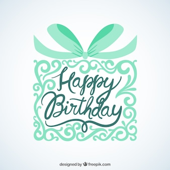 Happy birthday card with ornamental gift