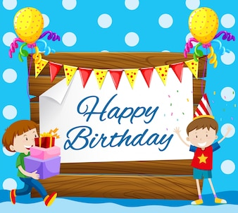 Happy birthday card with two boys