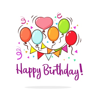 Happy Birthday Hand Drawn Colorful Background