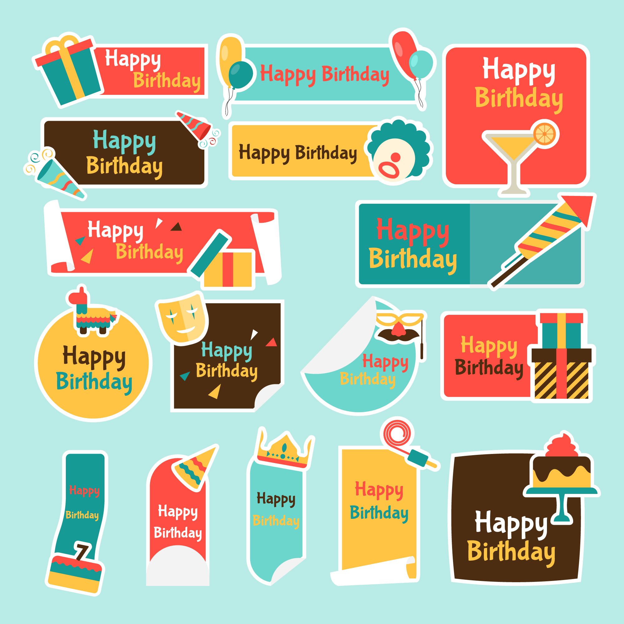 Happy birthday labels collection