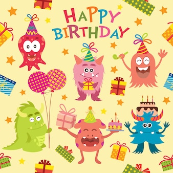 Happy Birthday Background With Children Vector Free Download