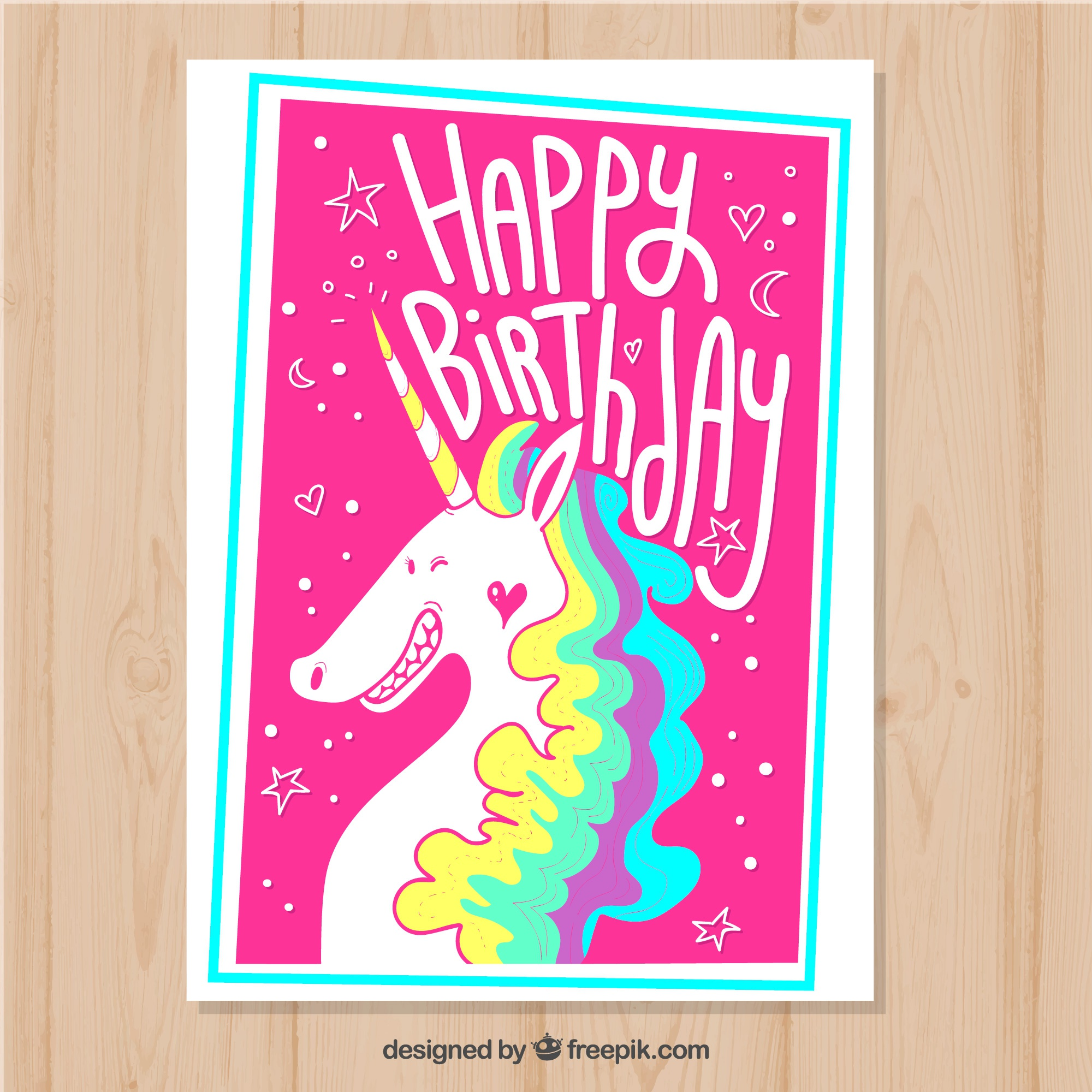 Happy birthday, pink card with a unicorn