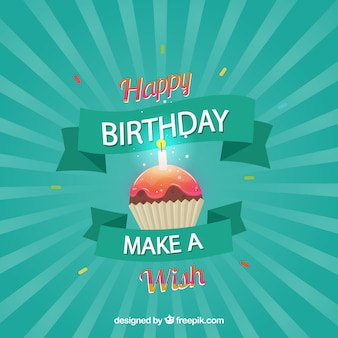 Happy birthday retro background with a cupcake